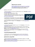 Cotele de Contributii Obligatorii Pentru Anul 2012
