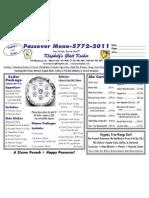 klapholz passover menu 2011