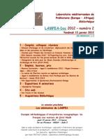 LAMPEA-Doc 2012 – numéro 2 / Vendredi 13 janvier 2012
