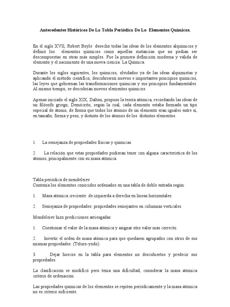 antecedentes histricos de la tabla peridica de los elementos qumicos - Tabla Periodica De Los Elementos Quimicos En Griego