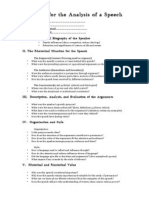 checklist for the analysis of a speech