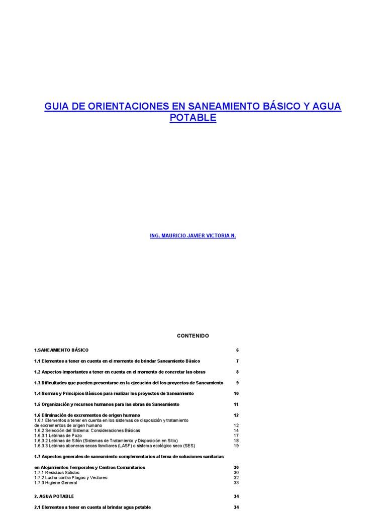 Guia de Orientaciones en Saneamiento Basico y Agua Potable para ...