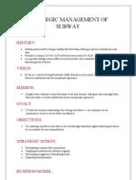 Strategic Management of Subway