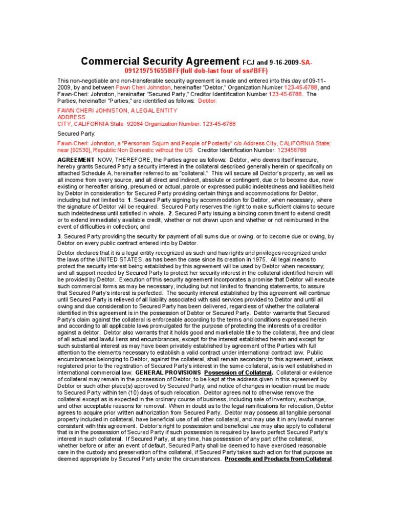 Commercial security agreement security interest guarantee platinumwayz