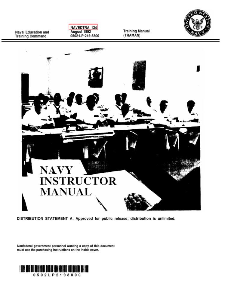 us navy course navedtra 134 navy instructor manual motivation rh scribd com Zumba Instructor Manual Instructor's Manual Tat2