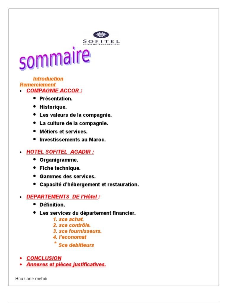 Rapport de stage hotel sofitel for Introduction rapport de stage cuisine