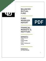 Fund Manger Report on SD Balanced Mutual Fund