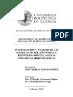 Lastras, M. Análisis masillas relleno reintegración lagunas cerámica. 2007