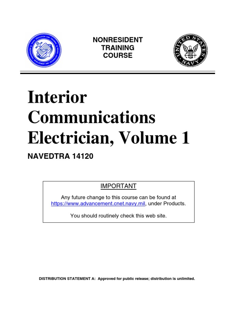 Us Navy Course Navedtra 14120 Interior Communications Electrician Transistoramp Software Circuit Wiring Volume 1 Capacitor Insulator Electricity