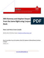 Mitt Romney and Stephen Harper Singing From the Same Right-Wing Corporate Hymn Book