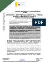 ATOMOXETINA (STRATTERA®) Y AUMENTO DE LA PRESIÓN ARTERIAL Y FRECUENCIA CARDÍACA