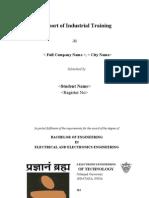 Induatrial Training Report Format