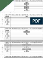 Horarios 2012 I TECNOLOGIAS EN ELECTRONICA Y TELECOMUNICACIONES UNICATOLICA