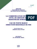 La Communication Interne. Outil de Gestion Des Ressources Humaines.cas de Poste Maroc Direction Regionale de Fes