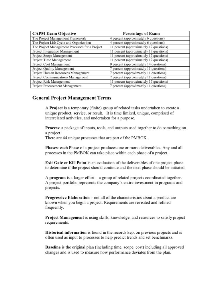 Capm exam prep notes project management risk management 1betcityfo Gallery