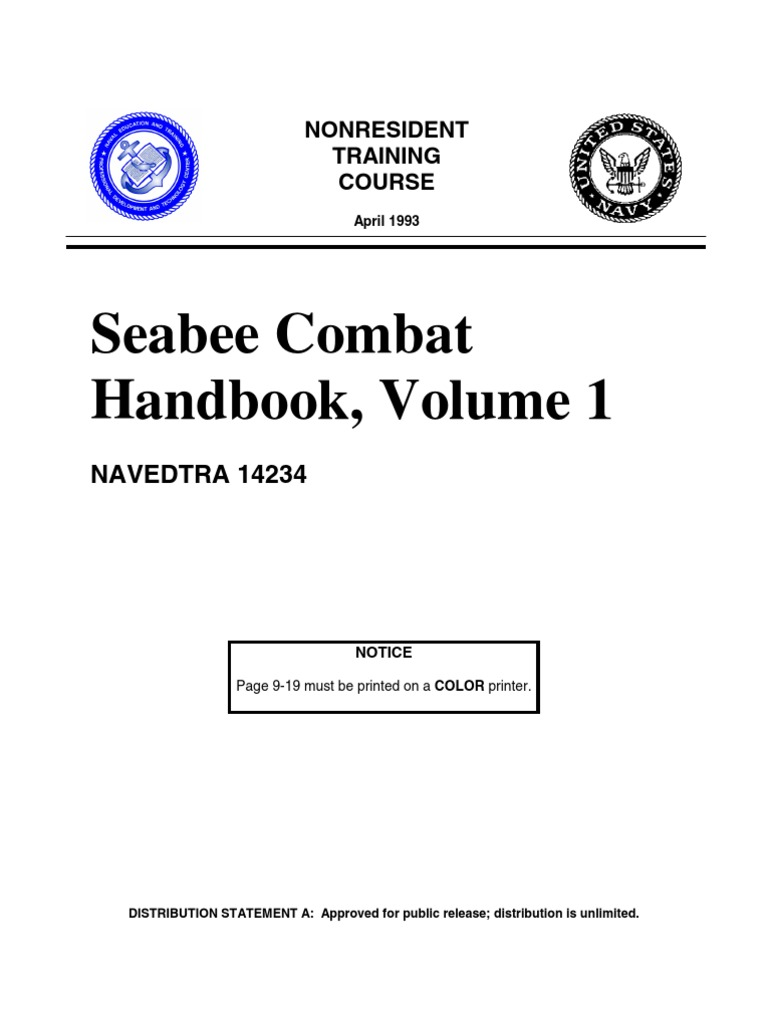 Us Navy Course Navedtra 14234 Seabee Combat Handbook Volume 1 Http Mk1 Performance Conversions Co Uk Wiring Diagram Moke To 1967 Military Science