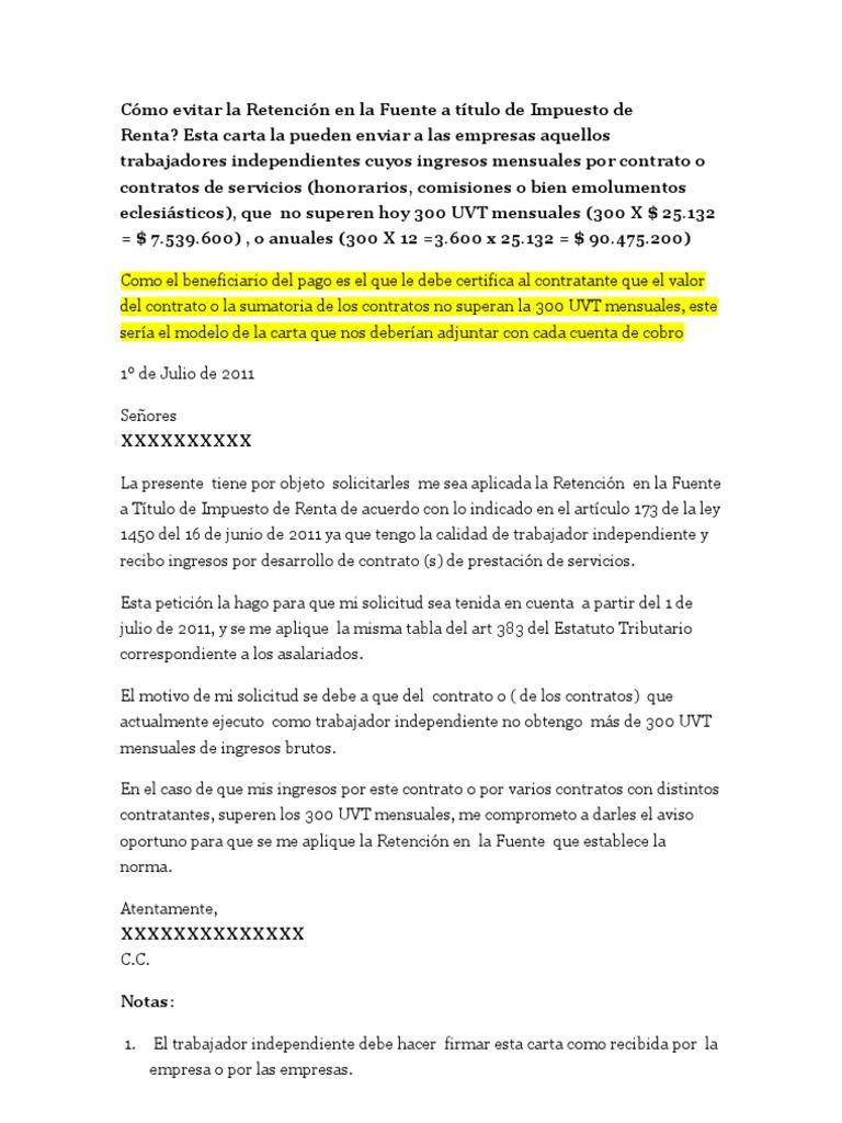 Modelo Carta Ley 1450 Retencion Independientes