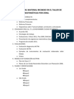 CONTENIDO DEL MATERIAL RECIBIDO EN EL TALLER DE MATEMÁTICAS POR ZONA