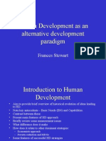 Human Development as an Alternative Paradigm and the Role of MDGs, Frances Stewart