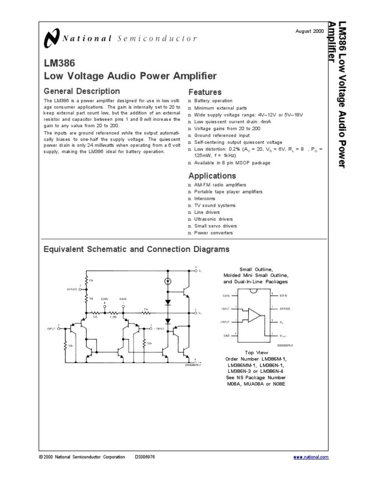 Lm386 Amplifier Resistor Simple Small Audio Circuit Diagram Using Ic