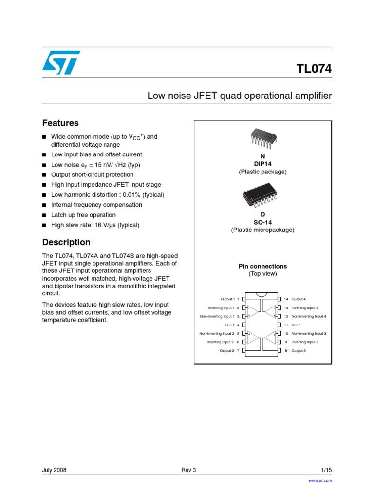 TL074 Datasheet op amp   Amplifier   Operational Amplifier
