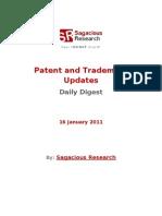 Sagacious Research - Patent and  Trademark Updates – 16-January 2012