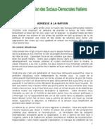 Messsage à La Nation du Parti de la Fusion des Sociaux-Démocrates Haïtiens