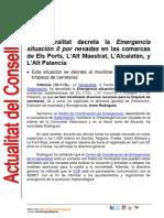 Emergència situació 0 per nevades 16-1-2012