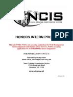 NCIS Honors Intern Program October 2011
