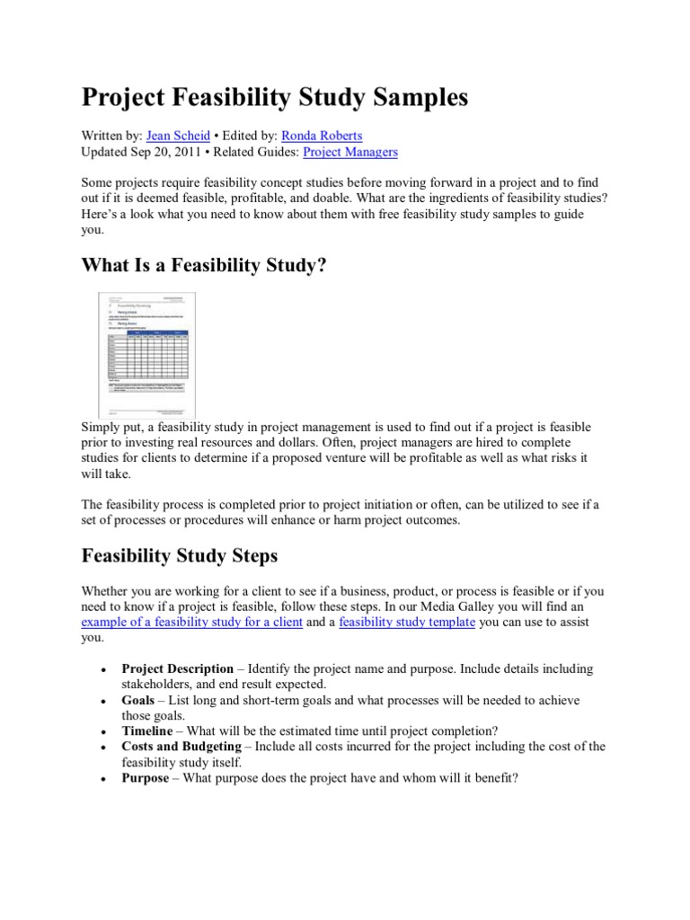 Project Feasibility Study Samples | Feasibility Study | Waste