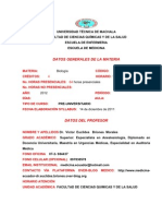 UNIVERSIDAD TÉCNICA DE MACHALA BORRADOR SILLABUS BIOLOGIA