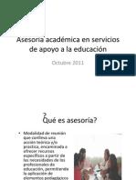 Asesoría académica en servicios  de apoyo a la