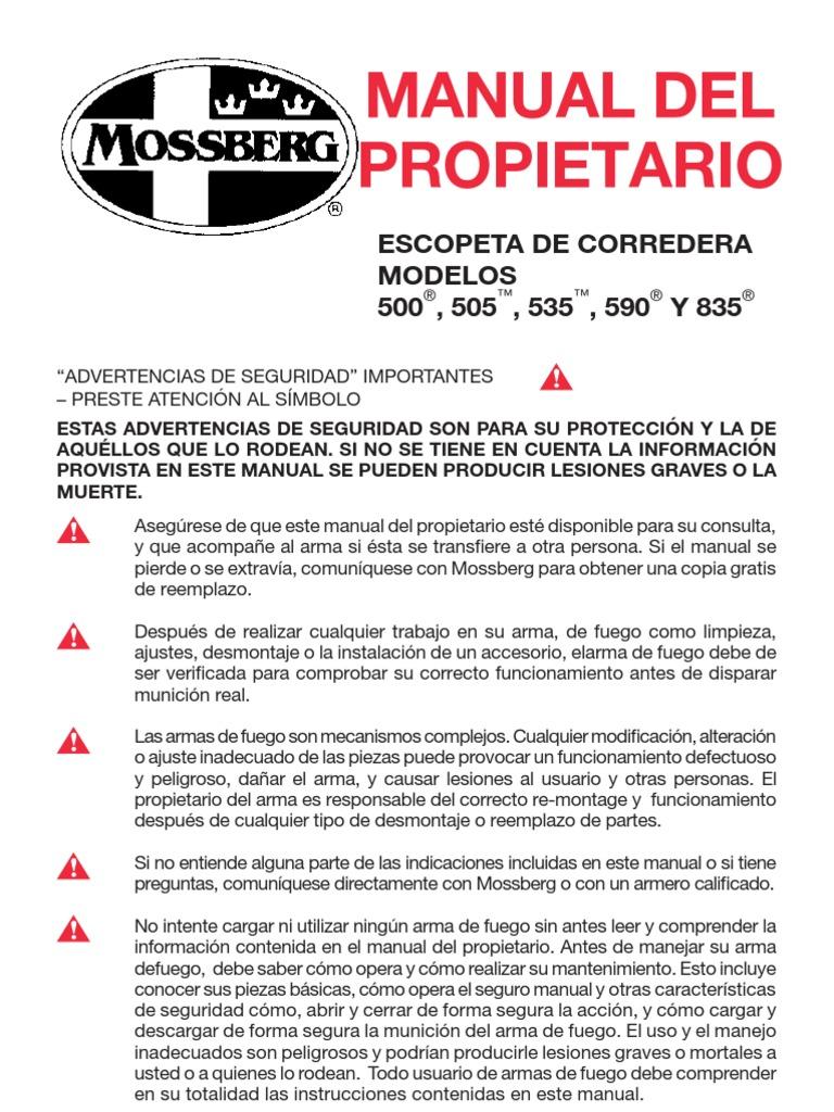 manual de escopeta pajiza mossberg rh pt scribd com Barska Mossberg 500A Forearm Mossberg Shotgun Manuals