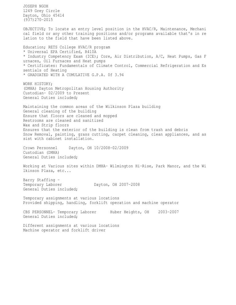 hvac resume objective hvac resume objective examples pics resume