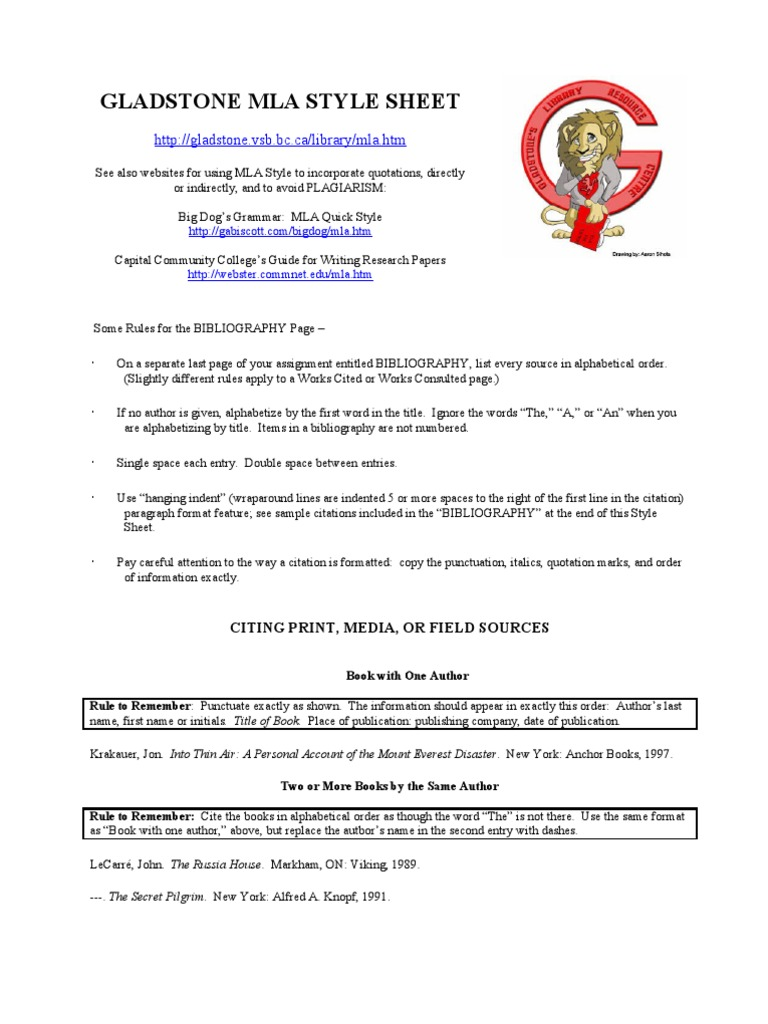 gladstone mla style sheet mount everest citation