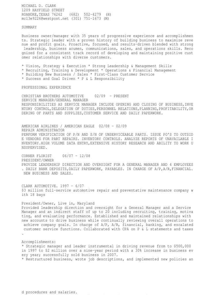Automotive Service Manager Training. 7 combination resume ...