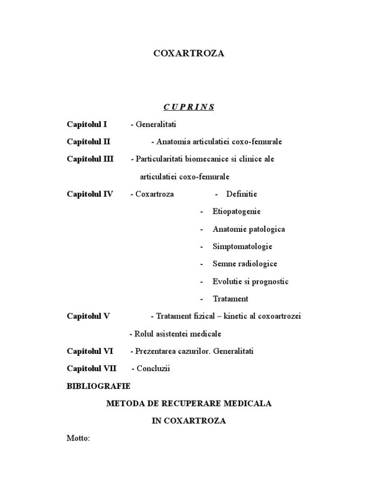 regim de tratament cu coxartroză