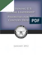 """""""Sustaining U.S. Global Leadership:Priorities for 21st Century Defense"""""""