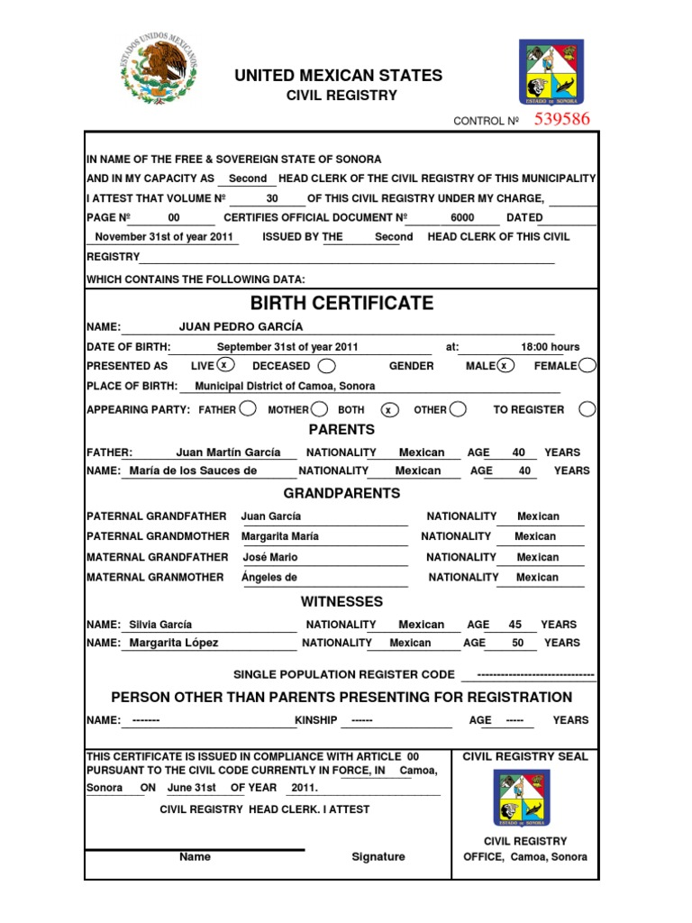 Mexican birth certificate template gallery templates example model birth certificate english alramifo gallery aiddatafo Images