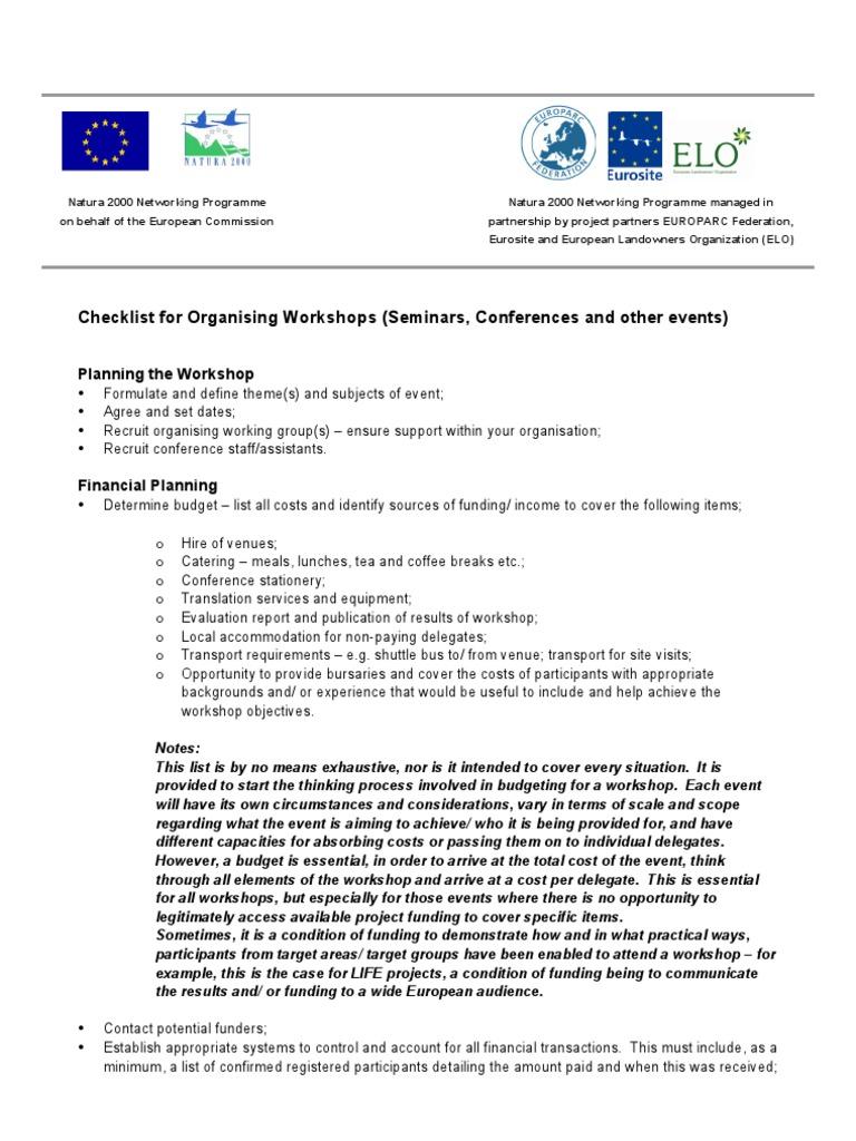 Nnp Workshop Checklist