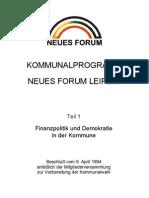 1994 NEUES FORUM Leipzig Kommunalwahlprogramm
