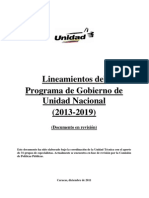 MUD. 2011. Lineamientos Del Programa de Gobierno de Unidad Nacional, Diciembre