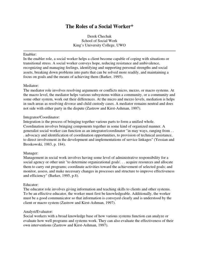 the roles of a social worker mediation social work