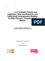 Policy, research and institutional arrangements relating to older persons