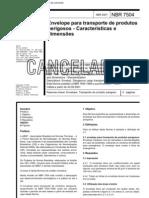 Nbr 7504 Pb 978 - Envelope Para Transporte de Produtos Perigosos - Caracteristicas E Dimensoes -