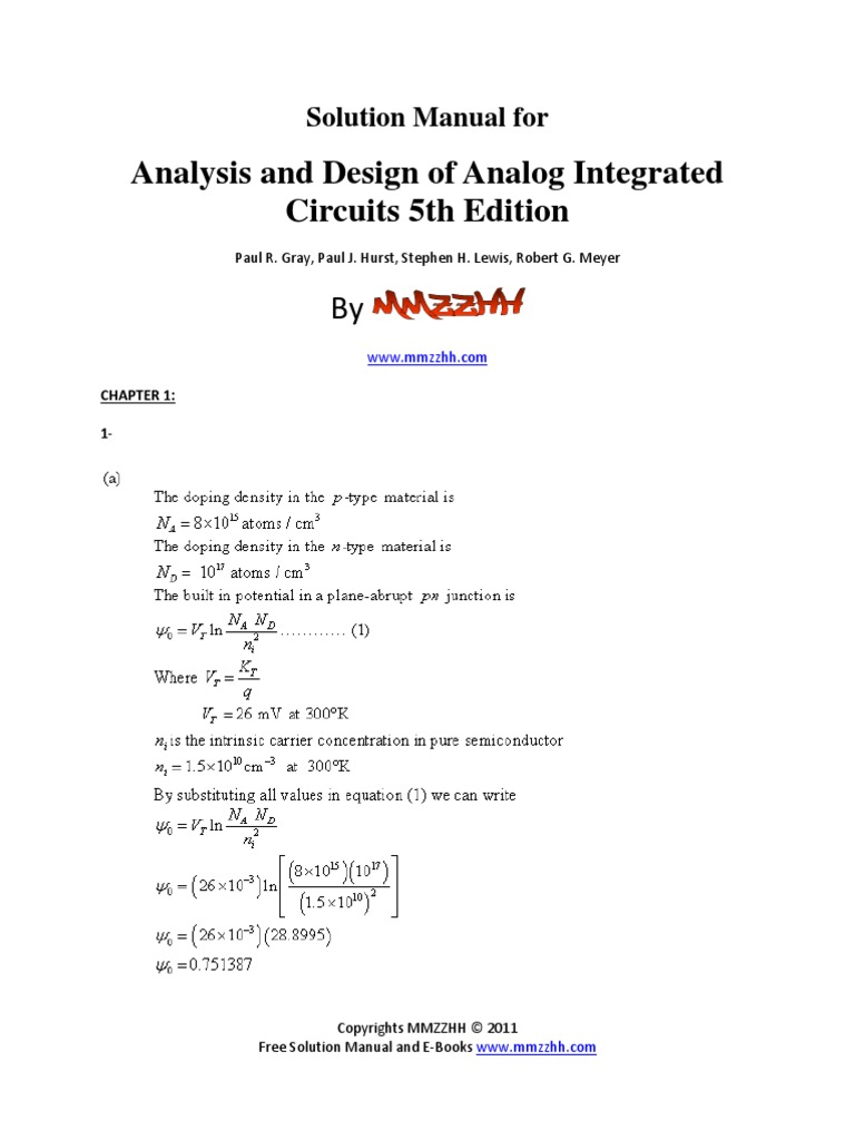 analysis and design of analog integrated circuits 5th solutions rh scribd com analog integrated circuit design johns martin solution manual pdf analog integrated circuit design ken martin solution manual