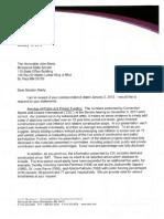Reply to Senator Marty 01/15/2012