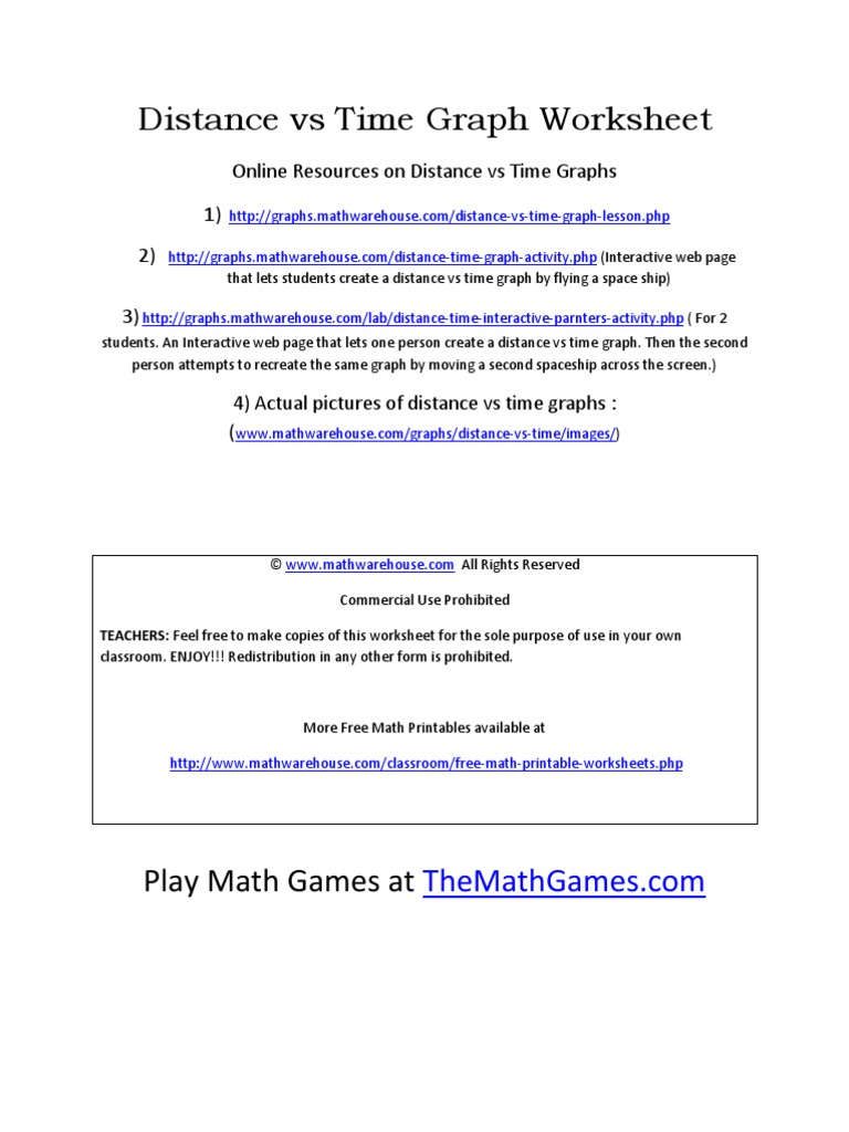 Worksheets Distance Vs Time Graph Worksheet 1508372136