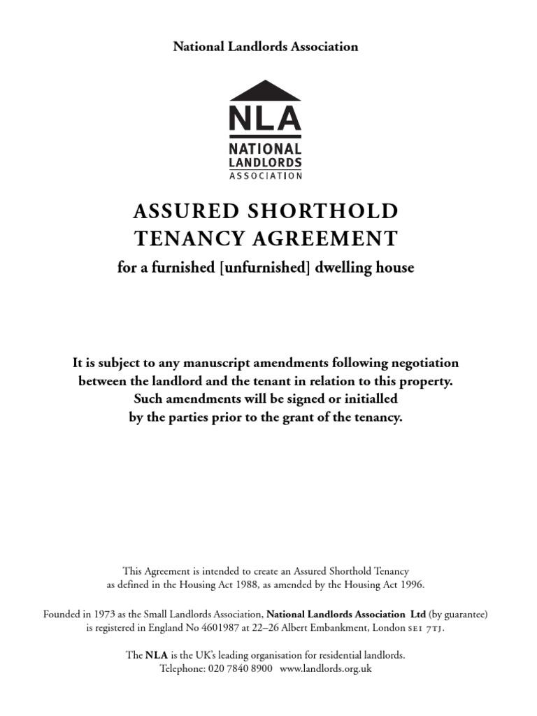 Nla Assured Shorthold Tenancy Agreement Pdf