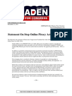 Statement By Congressional Candidate Ken Aden On SOPA